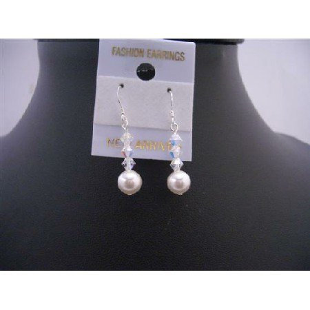 ERC421  White Swarovski Pearls AB Crystals Cute Earrings 92.5 Earrings