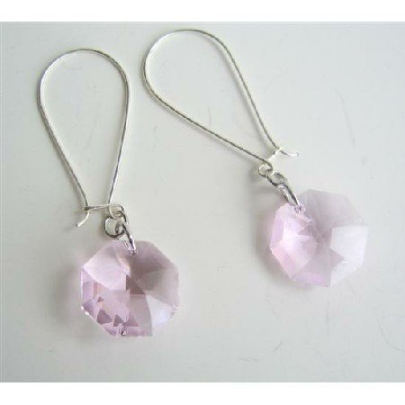 ERC344  Swarovski Octagon Transparent Pink Crystals Multifaceted Crystals Hoop Earrings