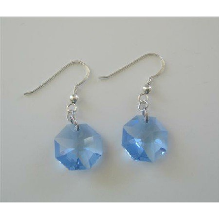 ERC388  Swarovski Octagon Aquamarine Transparent Multifaceted Crystals Sterling Silver Earrings