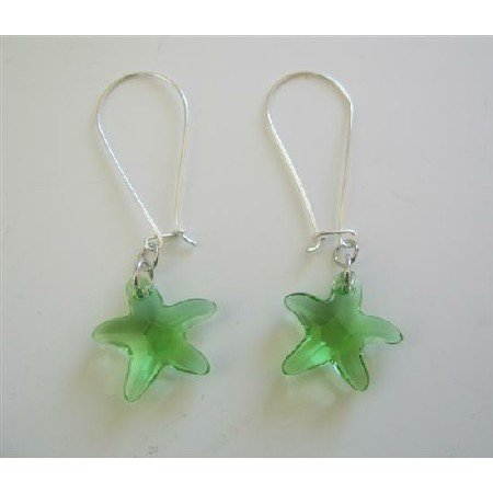 ERC381  Star Fish Peridot Crystals Sterling Silver Hoop Earrings