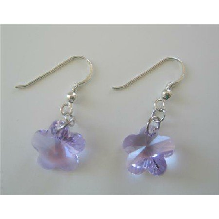 ERC389  Sterling Silver French Wire Earrings Amethyst Flower Earrings
