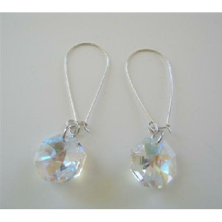 ERC387  AB Crystals Sterling Silver Hoop Earrings 15mm Multifaceted Octagon Crystals Earrings