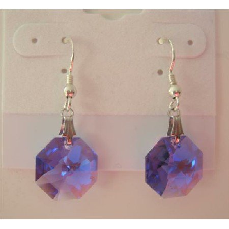 ERC288  TANZANITE OCTAGOn Swarovski Crystals Genuine Swarovski Crystals & Sterling Silver Earrings