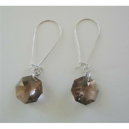 ERC394  Sterling Silver Hoop Earrings w/ Smoked Topaz Octagon 15mm Multifaceted Crystals Earrings