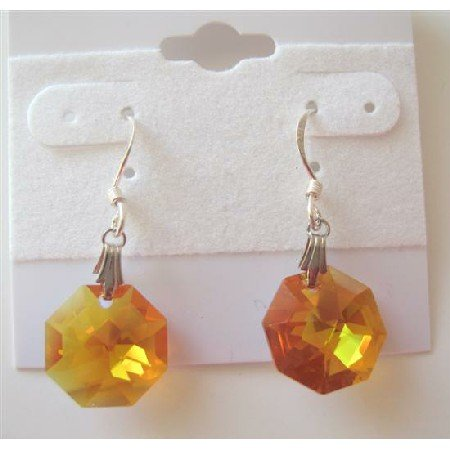 ERC289  TopaZ Octagon Crystals Genuine Swarovski Crystals & Sterling Silver Earrings
