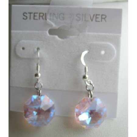 ERC311  Transparent Pink Crystals Octagon 15mm Multifaceted Crystals Sterling Silver Earrings