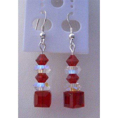ERC274  Passionate Red Valentine Earrings Siam Red Swarovski Crystals