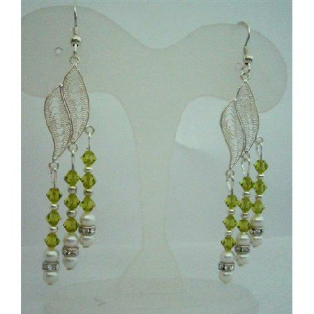 ERC272  Sterling Silver Chandelier Earrings w/ Genuine Swarovski Olivine Crystals