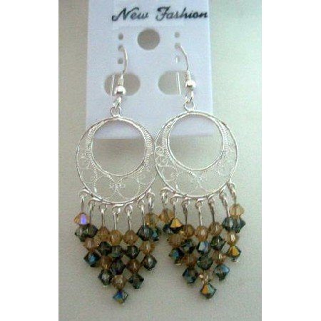 ERC173 Smoked Topaz & Toback Crystals w/ Sterling Silver 92.5 Round Chandelier Earrings