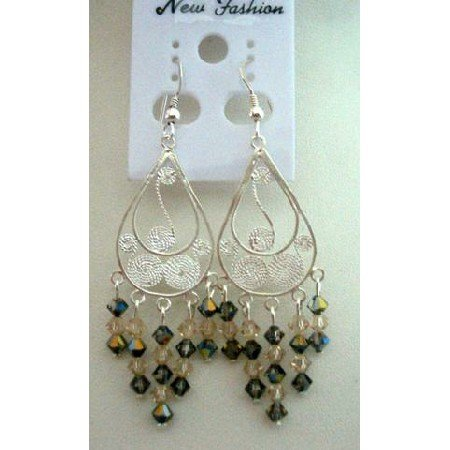 ERC170  Sterling Silver Chandelier Earrings w/Swarovski Ceylon & Toback Crystals Dangling Earrings