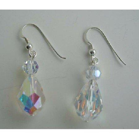 ERC205  Swarovski AB Crystals Earrings 20mm AB Crystals TearDrop Sterling Silver Earrings