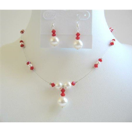 BRD597  Coral Crystals Swarovski Coral Color Crystals w/ White Pearls Bridemaides Jewelry Set