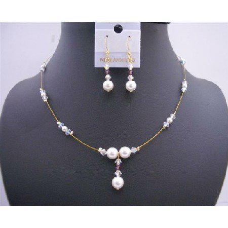 BRD587 Gold Wire w/ White Pearls & Ab Swarovski Crystals Handcrafted Jewelry Set