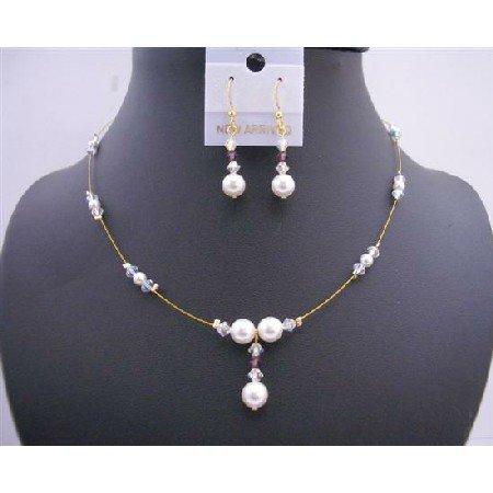 BRD587 Gold Wire w/ White Pearls & Ab Swarovski Crystals Handcrafted Jewelry Set