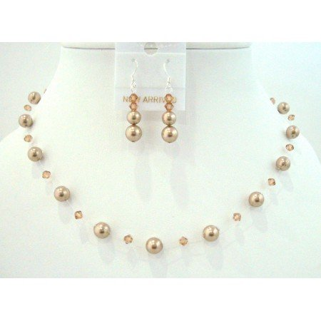 BRD817  Lite Smoked Topaz Crystals w/ Bronze Pearls Swarovski Pearls Crystals Necklace Set