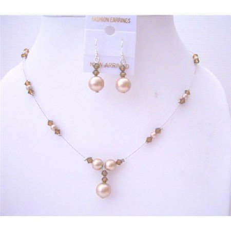 BRD534  Champagne Pearls Smoked Topaz Crystals Bridal Bridemaides Jewelry Set