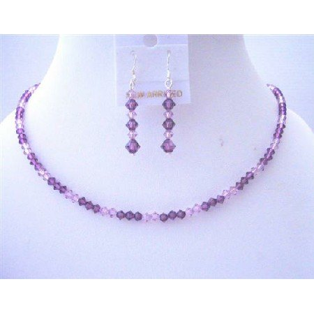 BRD464 Handcrafted Custom Swarovski Amethyst Light & Dark Crystals Jewelry