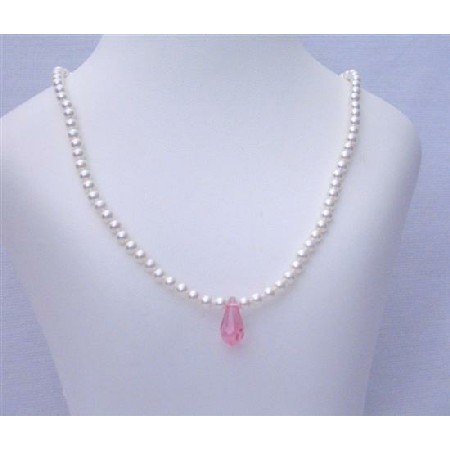 BRD405 Flower Girl White Pearls Jewelry Necklace w/ Pink Crystals Teardrop Necklace