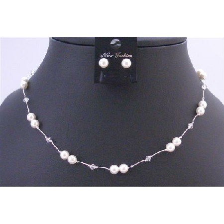 BRD854  White Swarovski Pearls With Clear Crystals Accented In Silk Thread
