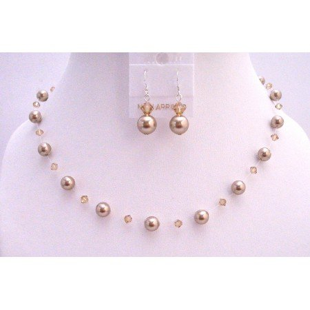 BRD811  Bronze Pearls Lite Colorado Swarovski Crystals & Pearls Bridemaids Jewelry Set