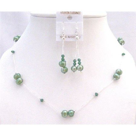 BRD853  Clover Swarovski Crystals With Green FreshWater Pearls Jewelry Set In Silk Thread