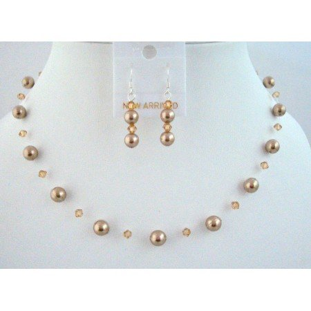BRD816  Customize Your Wedding Jewelry With Bronze Pearls Lite Colorado Swarovski Jewelry Set