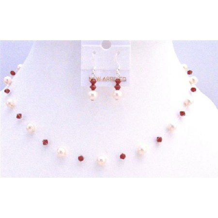 BRD830  Coral Swarovski Crystals With Ivory Pearls Jewelry Set Necklace Handcrafted Jewelry Set