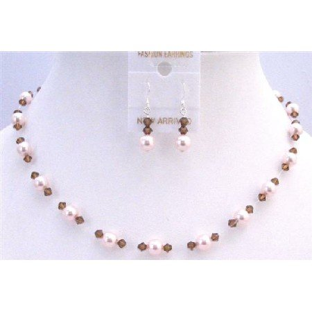 BRD872  Rose Pearls & Smoked Topaz Crystals Bridal Prom Bridemaids Jewelry Set