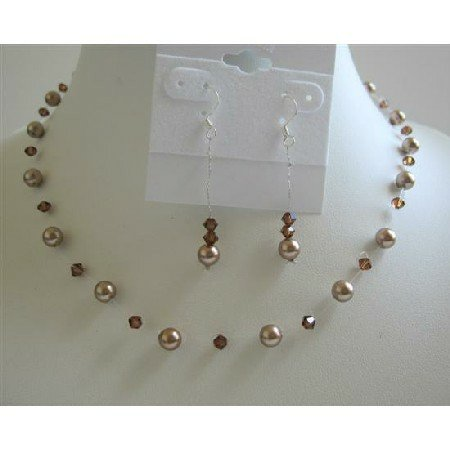 BRD638  Bronze Pearls Wedding Jewelry Set w/ Swarovski Smoked Topaz Crystals Necklace Set