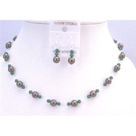 BRD880  Clover Green Swarovski Crystals w/ Chocolate Brown Wedding Jewelry Set