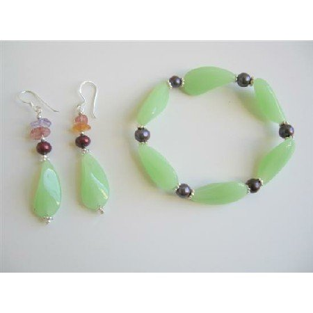 TB603  Fancy Green Glass Beads Steretchable Bracelet w/ Sterling Silver 92.5 Earrings