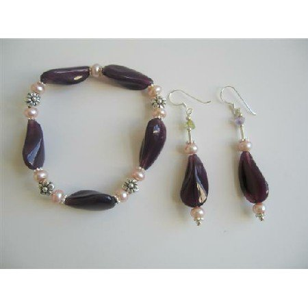 TB605  Amethyst Glass Beads Bracelet & Earrings w/ Freshwater Pearls & Bali Silver Fancy Bracelet