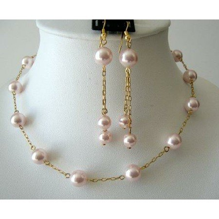 BRD225  Romantic Jewelry Set Rosaline Swarovski Pearls Chain 22k Gold Plated