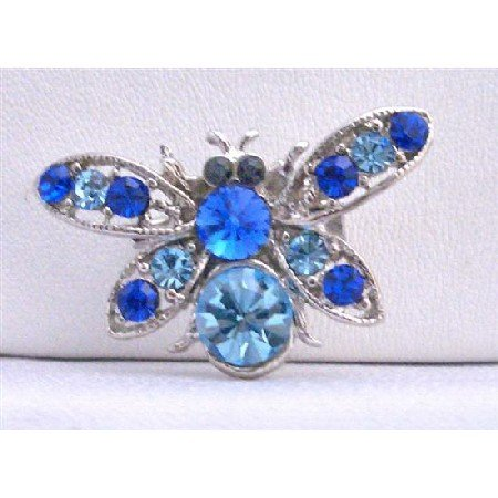 B240  Aquamarine Bee Brooch Aquamarine Bumble Bee Brooch