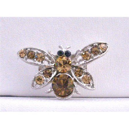B241  Smoked Topaz Brooch Brown Bumble Bee Classy Brooch