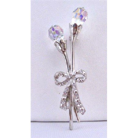B276  AB Crystals Teardrop Brooch Tulip Brooch w/ LOng Stem & Bow Tulip Brooch
