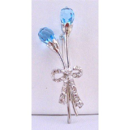B277  Aquamarine Crystals Two Teardrop Tulip Brooch Stem & Bow Tulip Brooch