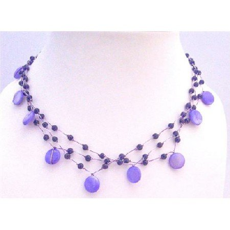 N291  Three Stranded Amethyst Necklace Shell And Fancy Beads Choker Necklace