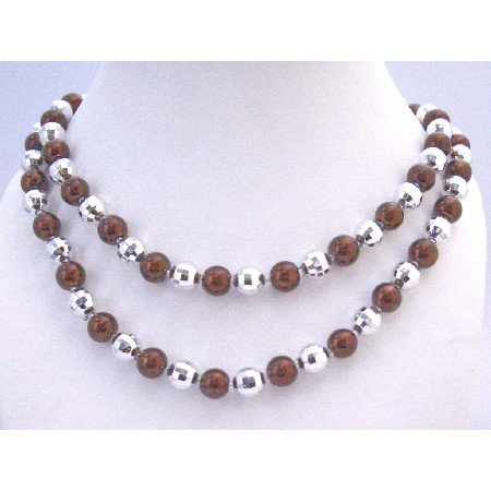 N333  Long Pearls Necklace Brown Pearls Multifaceted Beads Fancy Beads Long Necklace