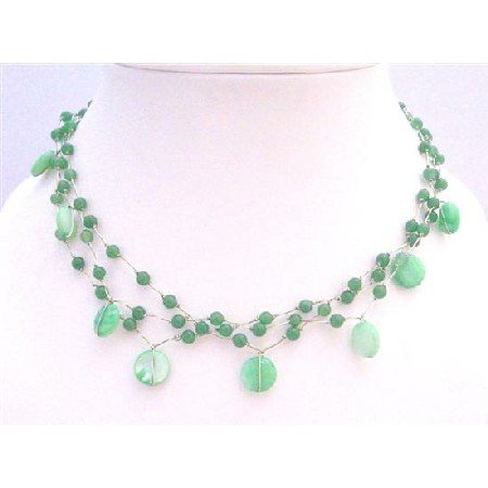 N308  Beautiful Jade Necklace Green Shell w/ Green Fancy Beads Choker Necklace