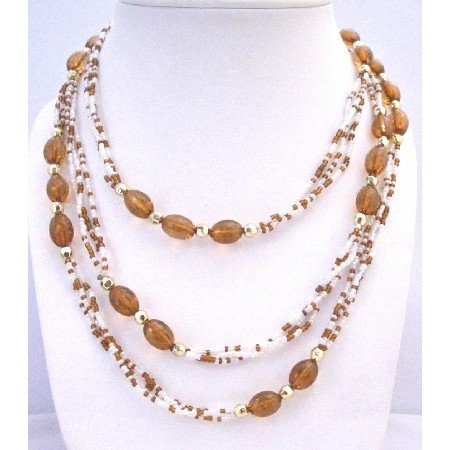 N306 Brown White Beads 2 or 3 Stranded Necklace w/ Gold Beads Spacer Long Necklace