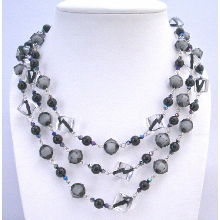 N331  Black Pearls Black Diamond Clear Crystals Long Necklace 60 Inches Long Necklace
