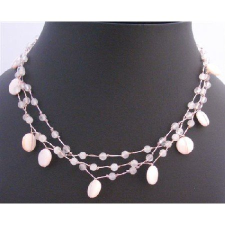 N292  Cool Light Pink Shell Necklace Fancy Pink Beads Necklace