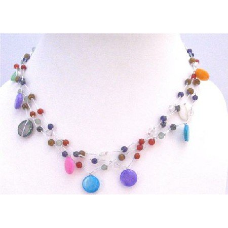 N311 Fancy Multi Beads Multi Shell Summer Necklace Three Stranded Choker Necklace