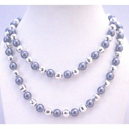 N334  Classy Beads Long Grey Pearls Necklace Multifaceted Beads Long Necklace