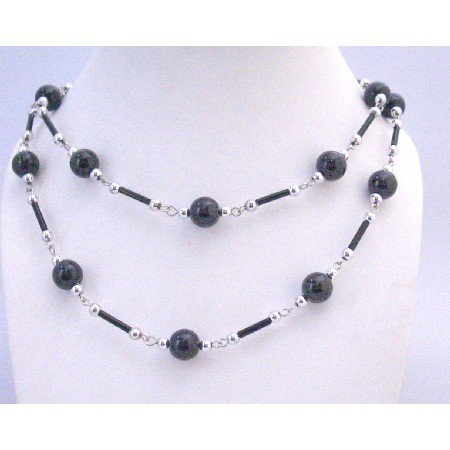N319  Fancy Summer Necklace Black Pearls Black Pipe Silver Beads Long Necklace 56 Inches Necklace