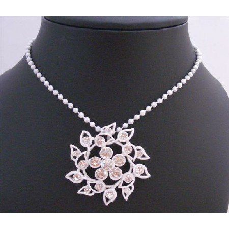 N347  Summer Long Necklace White Beaded w/ Flower Pendant Decorated Rhinestones