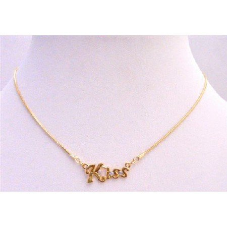 N341  Kiss Gold Pendant Decorated w/ Cubic Zircon Gold Chain Necklace