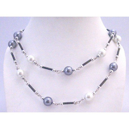 N335  White Grey Pearls Summer Necklace Fancy Beads 56 Inches Inexpensive Long Necklace