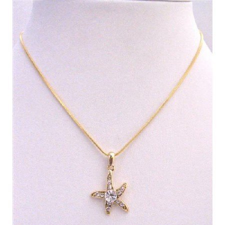 N372  Gold Pendant Star Flower Embedded w/ Cubic Zircon & Cz Stud In The Center Necklace